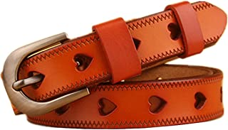 Cinturón para mujer con cinturilla de piel de vacuno hueca en forma de corazón para cinturón rojo