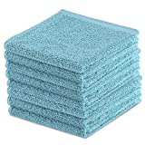 Product Image of the TOBEHIGHER Kitchen Dishcloth Dish Rags - 8 pcs, Super Absorbent Dish Cloths, Lint Free Wash Cloth Set, 10.2 x 10.2 inches - Blue