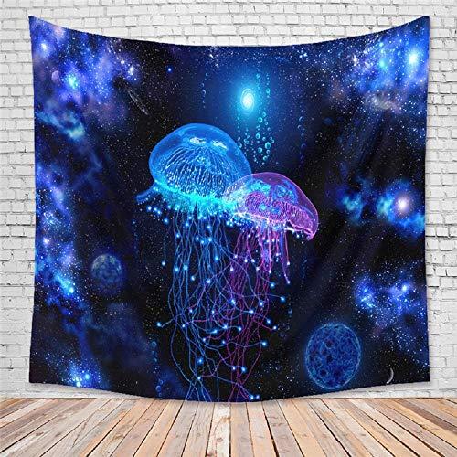 Tapiz de medusa azul y planeta, tapices combinados para colgar en la pared para dormitorio, decoración del hogar, 150X200CM