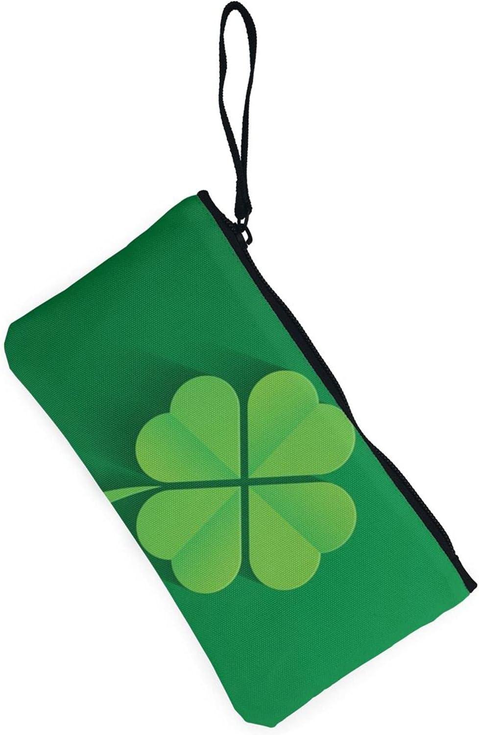 AORRUAM Irish Shamrock Canvas Coin Purse,Canvas Zipper Pencil Cases,Canvas Change Purse Pouch Mini Wallet Coin Bag