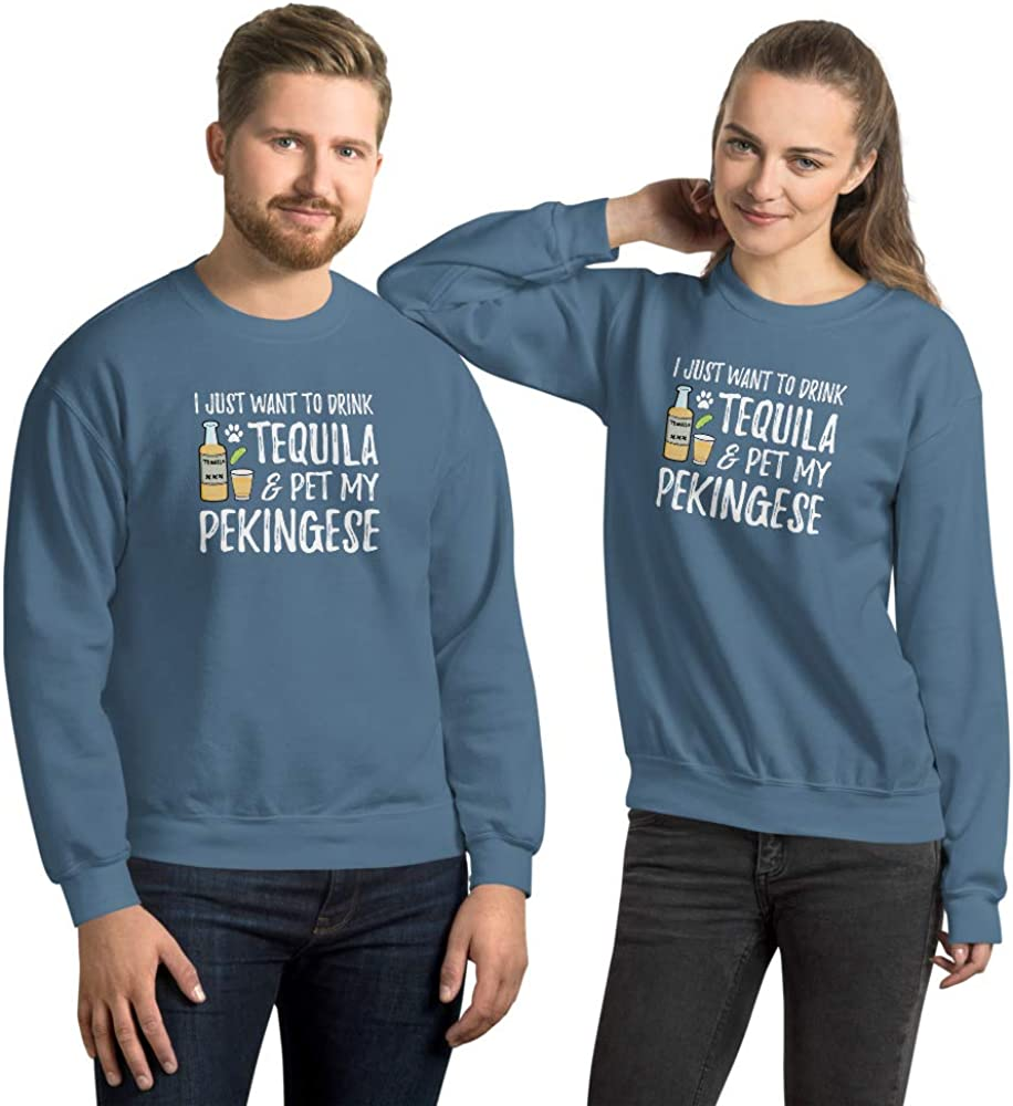 Tequila Pekingese Sweatshirt for Cinco de Mayo Dog Mom or Dog Dad Gift Indigo Blue