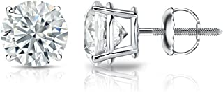 Diamond Wish 18k Gold Round Diamond Stud Earrings (1/4-2 cttw, G-H, VS2-SI1) 4-Prong Basket set with Screw-Backs