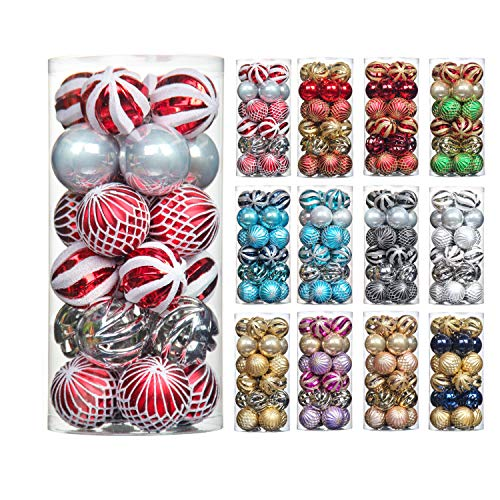 QinYing 24pcs Red&White&Silver 2.36'/6cm Shatterproof Coloured Drawing Christmas Balls Ornaments Tree Hanging Balls Decoration for Hoilday Party Baubles Set with Hang Rope