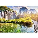Vlies Fototapete 300x210 cm PREMIUM PLUS Wand Foto Tapete Wand Bild Vliestapete - Natur Wasser Sonne Bäume Ausblick - no. 0260