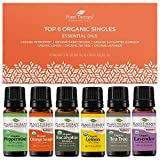 Plant Therapy Top 6 Organic Essential Oil Set - Lavender, Peppermint,...
