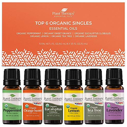 Plant Therapy Top 6 Organic Essential Oils Set | Lavender, Peppermint, Eucalyptus, Lemon, Tea Tree, In A Wooden Box | 100% Pure, USDA Organic, Natural Aromatherapy, Therapeutic Grade | 10 mL (⅓ oz)