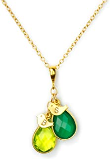 Gold Mothers Necklace with 2 Teardrop Birthstones and 2 Baby Bird Charms