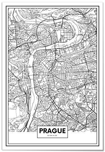 Panorama Póster Mapa de Praga 50x70cm - Impreso en Papel 250gr - Póster Pared - Cuadros Decoración Salón - Cuadros para Dormitorio - Póster Decorativos - Cuadros Modernos