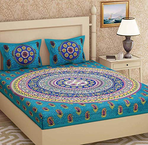 Attraction place Traditional Indian Cotton Printed King Size Double Bed Sheet with 2 Pillow Covers FC-30