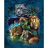 5D Diamante Pintura Mosaico DIY Diamante Tigre León Leopardo Bordado Punto De Cruz Diamantes De Imitación Pintura Decoración Diamante Redondo 30 * 40 Cm (12 * 16 Pulgadas)