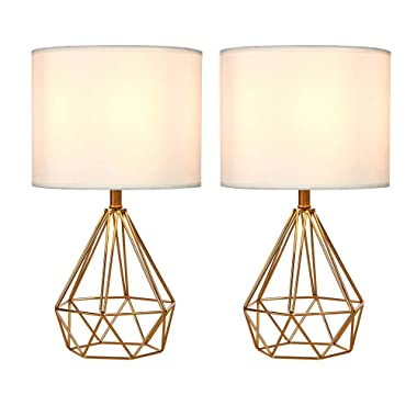 SOTTAE Golden Hollowed Out Base Modern Lamp Bedroom Livingroom Beside Table Lamp, 16  Desk Lamp with White Fabric Shade(Set of 2)