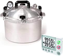 All American Precision Machined Pressure Cooker/Canner Bundle with Marathon TI030017WH Large Display 100 Hour Timer - (White) 15.5 QT