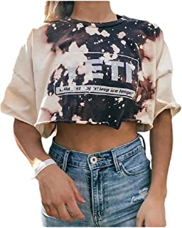 MogogN Womens Floral Print Crop Blouse O-Neck Short Sleeves Stylish Tees XL