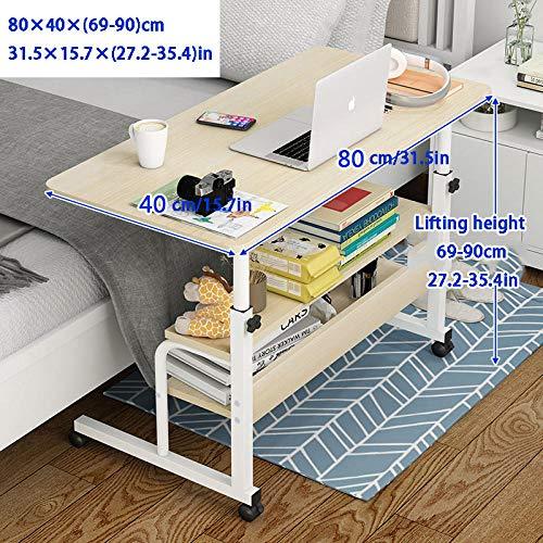 Stahlrohr Laptop Tisch Für Bett mit Gelbes MDF,Höhenverstellbar, Abschließbare Rollen, 3 Lagerschichten,Krankenbett Beistelltisch für Bett Sofa Stehendes Büro Ergonomischer Büroschoß Schreibtisch Tra