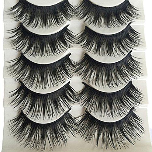 Bluelans® Lot de 5 paires de faux cils longs naturels noirs et épais