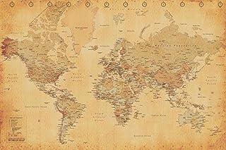 Póster Mapa del mundo estilo retro/antiguo (91,5cm x 61cm)