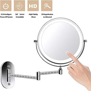 ZEPHBRA Espejo de Maquillaje con Luz LED 1X/5X Aumento Espejos de Aumento de Pared de Doble Cara Giratorio Espejos Extensibles para Baño y Tocador (Plata)