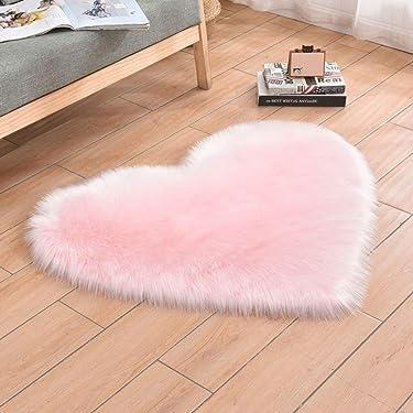 HEBE Faux Fur Rug 2.3'X3' Pink Sheepskin Area Rugs Heart Shaped Nursery Rug Shaggy Fluffy Throw Rug for Bedroom Floor Kids Room Sofa Bedside Decor