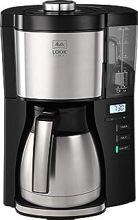 Melitta Look V Therm Timer, kaffebryggare med okrossbar kanna i rostfritt stål, svart