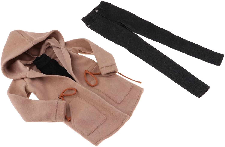Baoblaze Popular 3Pcs Doll Clothing for 70cm Uncle BJD Doll Sleeveless Hollow Vest & Black Denim Jeans Trousers Hoodie Jacket