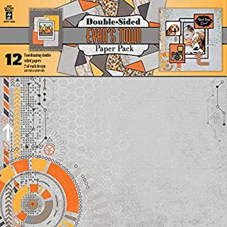 "Double-Sided Paper Pack by Hot Off The Press | 12 Double-Sided 12""x12"" Sheets of Coordinated, Heavyweight 80# Scrapbooking Paper (Evan's Town)"