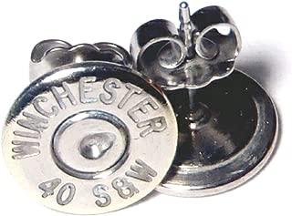 .40 S&W Bullet Stud Earrings Palladium Plated- (Winchester)