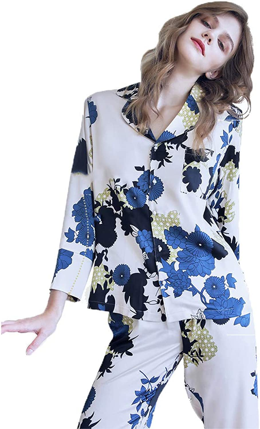 Lingerie, Sleep & Lounge Pajamas Women LongSleeved Trousers 2 Piece Casual wear Female Female Autumn and Winter LongSleeved Printed Shirt Collar 2 Piece Home Service can be Worn