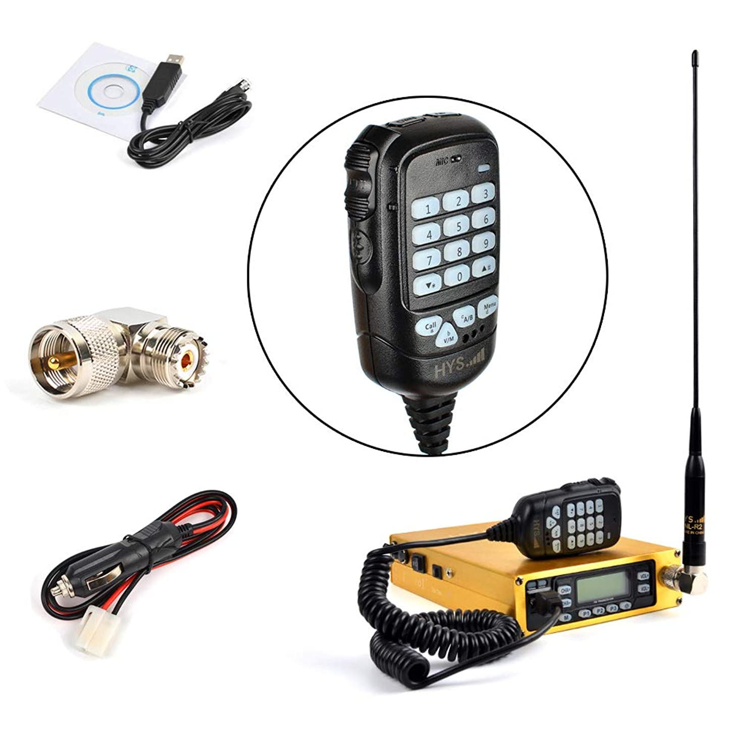 HYS 25W Dual Band VHF/UHF Mobile Transceiver Golden Mobile Ham Radio Amateur Radio Built-in 12000mAh Battery with Programming Cable Antenna SO239 to PL259 Adapter (A Complete Set of)
