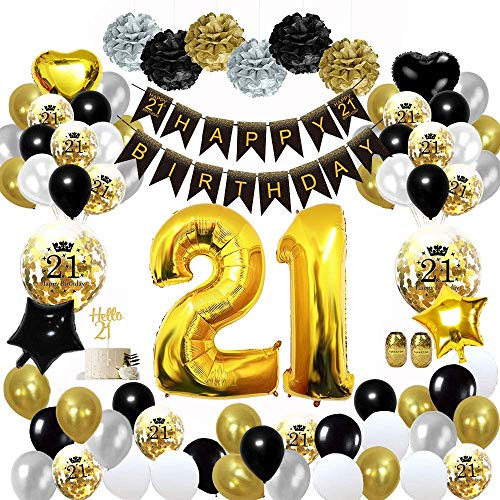 KarleDeal 21 Birthday Party Decorations for Women Men Including Happy Birthday Banners Confetti Balloons, Latex Black Gold and White Balloon and Foil Balloon (21)