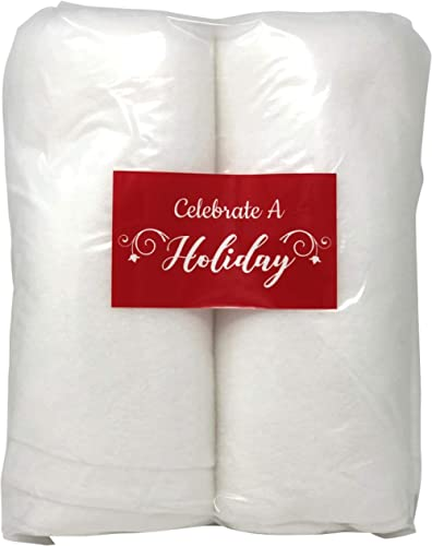 Celebrate A Holiday Christmas Snow Roll - 2 Packages of 3 Foot X 8 Foot Artificial Snow Blankets for Christmas Decora...