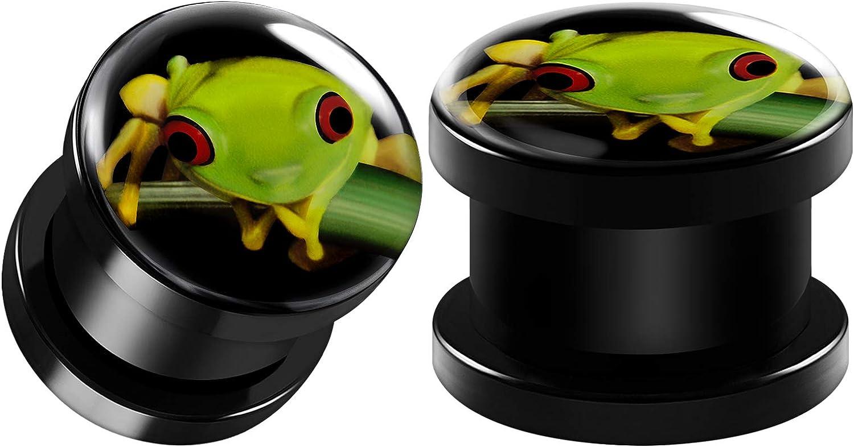 BIG GAUGES Pair of Black Acrylic Green Frog Logo Screw-Fit Flesh Tunnels Piercing Jewelry Stretcher Ear Earring Lobe Plugs