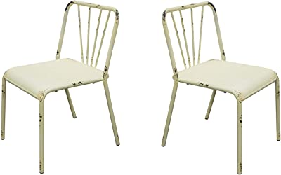 Benzara BM191049 Metal Dining Chairs with Slat Style Back, Set of Two, White