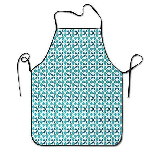 N\A Humor Delantales de Cocina & Pound; & Not; Primavera/Invierno/Halloween/Acción de Gracias Delantal para cocinar Hornear Estrella marroquí Diseño de Azulejos Triángulos Azulejo portugué