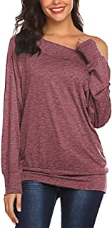 Qearal Womens Off The Shoulder Shirts Loose Casual Long Sleeve Tops Blouse