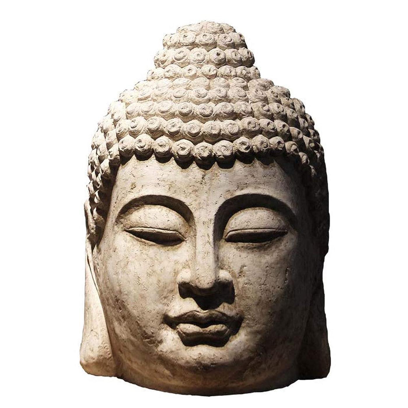 アジア人開梱唇GWM ラッキービッグオーナメントオープニングギフト仏陀仏像仏頭の装飾品リビングルームクラブ風水禅家具40cm * 36cm * 63cm