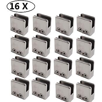 20 PCS 8-10mm Pince /à Verre acier inoxydable 304 Pince /à verre en verre support r/églable glashalterung arri/ère plat pour balustrade escalier main courante