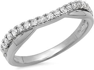 Dazzlingrock Collection 0.30 Carat (ctw) 18K Gold Round Diamond Ladies Wedding Guard Contour Band 1/3 CT