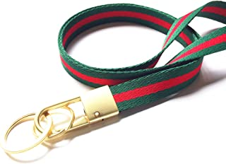 Stripe Neck Lanyard Key Chain (with 2 Key Rings), Luxury Golden Heavy Duty Metal Car Keychain with Classical Soft Stripe Webbing for Man and Women (Green/Red)