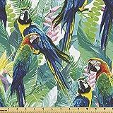 Lunarable Papageien-Stoff von The Yard, bunte Papageien,
