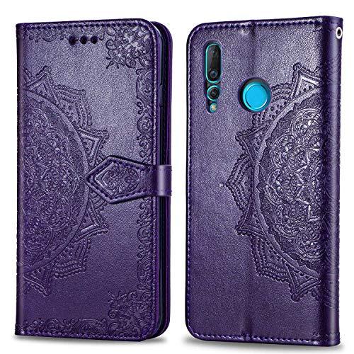 Bear Village Hülle für Huawei Nova 4, PU Lederhülle Handyhülle für Huawei Nova 4, Brieftasche Kratzfestes Magnet Handytasche mit Kartenfach, Violett