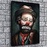 ZWAN Emmett Kelly Clown Canvas Wall Art Oil Painting for Bedroom Living Room Home Decor,FPattern Office Artworks (Framed,12x16inch)