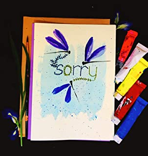 Sorry Cards, Blue Dragonflies, Self Design, All painted by hands, Acrylic Original Art on Light-Yellow Hard paper, None is the same, size 21 cm x 15 cm (A5) - 8.2