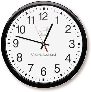 Charles Leonard Relógio de parede, quartzo fino de 35,5 cm com mostrador de 30,5 cm, preto/branco (76820)