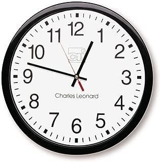 Charles Leonard Wall Clock, 14 Inch Thinline Quartz with 12 Inch Dial, Black/White (76820)