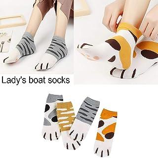 4 Pares De Calcetines De Uña De Gato Mujer Calcetines De Mujer Calcetines De Algodón Bonitos Calcetines De Algodón De Dibujos Animados Para Barcos Calcetines De Algodón Bonitos Estilo Japonés