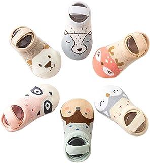 Peaches Stores, 6 Pares de Calcetines Antideslizantes para Niños Pequeños Algodón Lindo con Puños Calcetines Antideslizantes para Bebés 0-3 años