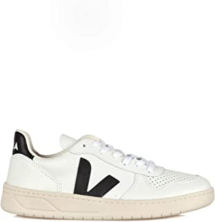 Veja Sneaker V-10 da Donna in Pelle Bianca con Logo in Gomma Nera, Taglia UK: