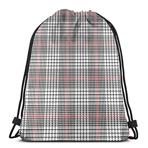 Lsjuee Glen Check Plaid Pattern Abstract Drawstring Backpack Workout Bag Pack Cinch for Hiking Yoga Gym Swimming Travel Beach