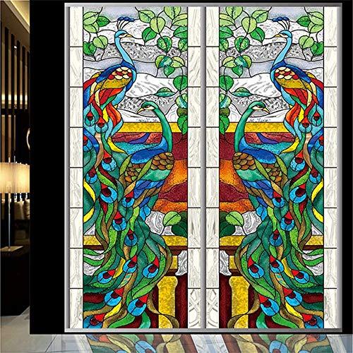 KBLTA Fensterfolien Kirchenfenster-Blumen-Kabinett-Antistatischer Film Der Buntglas-Folien-Pfau-Kirchen-Decken-,80 * 200CM