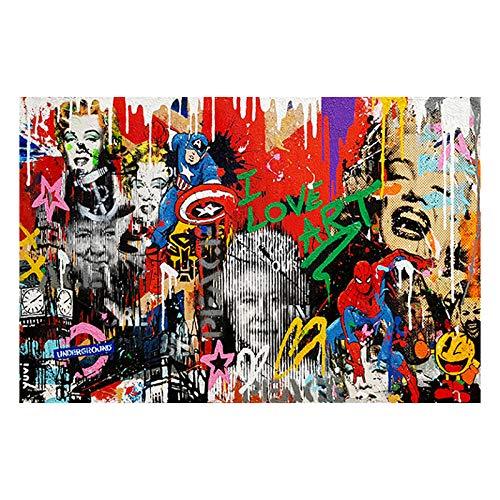 Marilyn Monroe Street Graffiti Poster Banksy Wall Art Abstract Graffiti Canvas Pintura Nordic Pop Wall Cuadros Decoracion para Sala de Estar 40x60cmx1 Sin Marco
